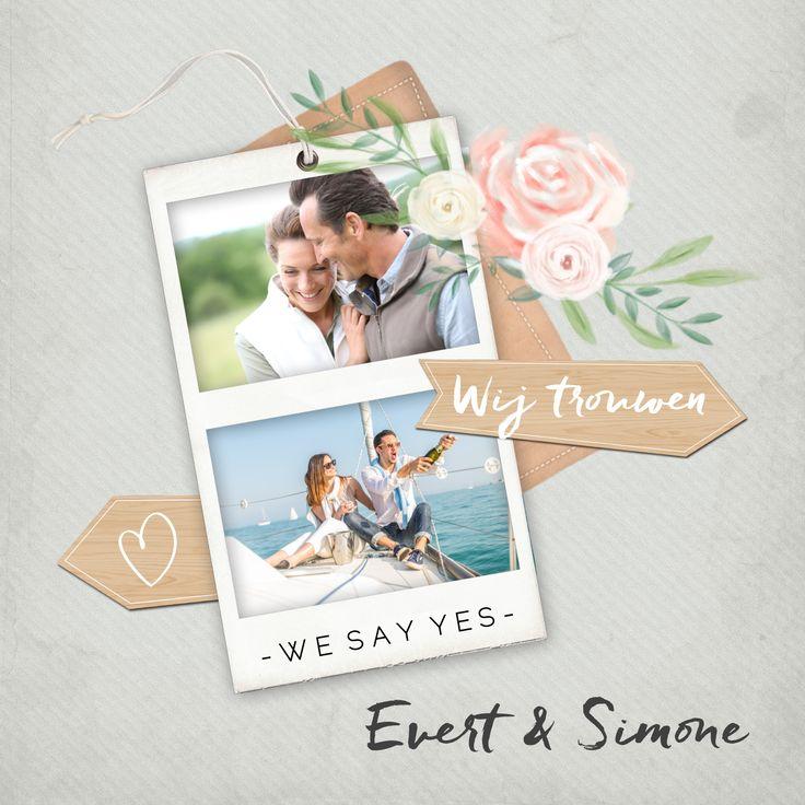 Vintage trouwkaart met foto, bloemen en houten wijzers. Helemaal perfect voor je vintage bruiloft!