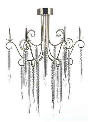 Chrome Vionnet Chandelier Light Flush Mount Crystal Chain Grey Gunmetal Bhs Vintage Style