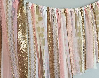 Koraal Peach Mint roze & goud pailletten garland banner