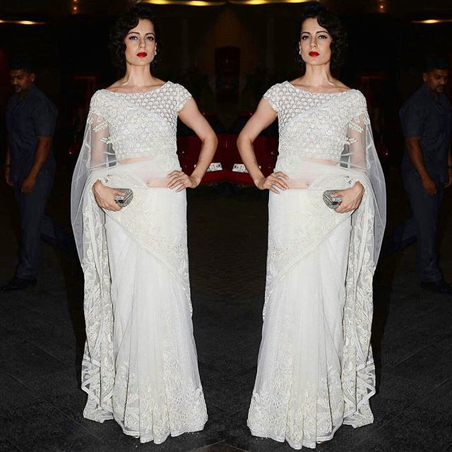 Kangana Ranaut in a White Saree by Abujani and Sandeep Khosla.