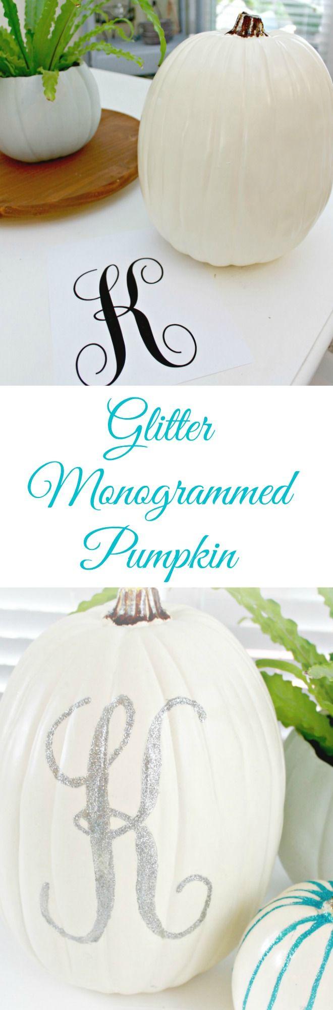 Glitter Monogrammed Pumpkin - Simple Fall Decor Idea Using a Faux Plastic Pumpkin!