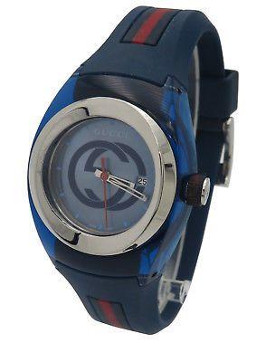 6f5fe6418b8 Gucci Sync YA137304 Swiss Blue Dial Transparent Case Blue Red Rubber 36mm  Watch