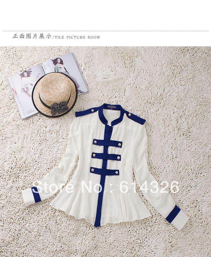 Nueva ZA ** Navy Fashion Blanco Mujeres camiseta de manga larga de seda blusas…