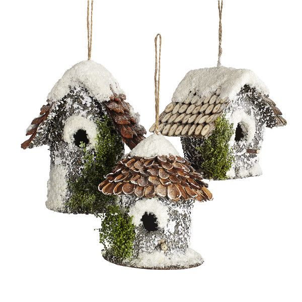 Snowy Birdhouse Ornaments - Set of 3 - NEW
