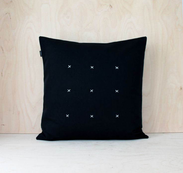 Minimal Black Canvas Pillowcase, Embroidered Black and White Canvas Cushion, Decorative Pillowcase, X stitch Pillow Cover, Canvas Pillow by DesignSandberg on Etsy