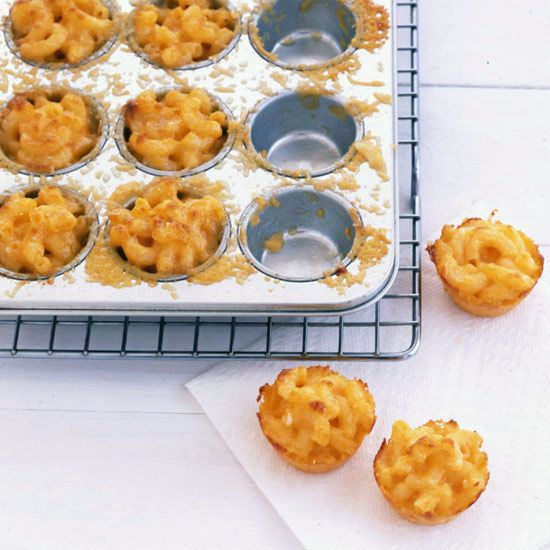 Anything big made small is ultrafun for cocktail parties, and these quick, one-bite mac and cheeses are the ultimate example. Cooked in mini muffin pa...