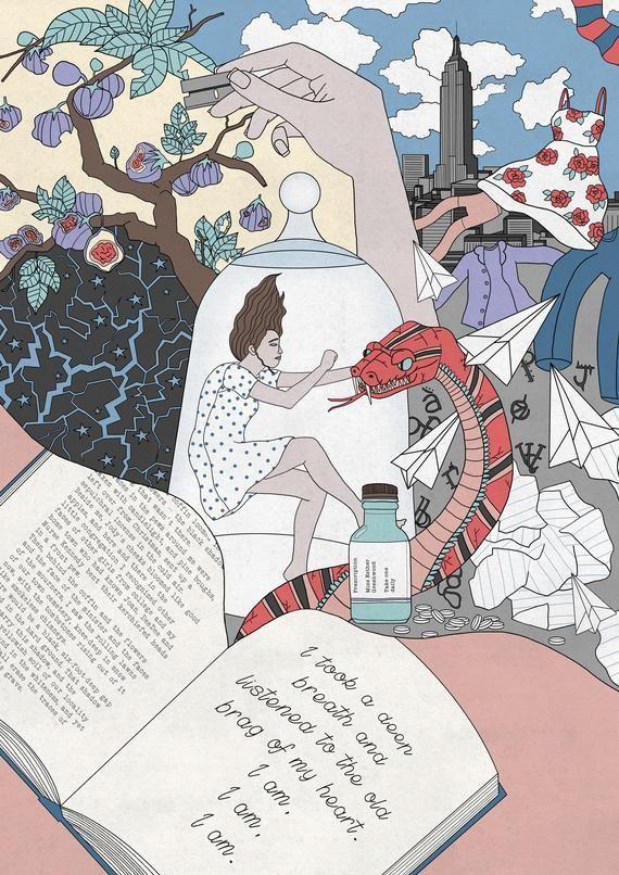 Sylvia Plath The Bell Jar A4 Illustration Art Print Etsy In 2021 Literature Essays Essay