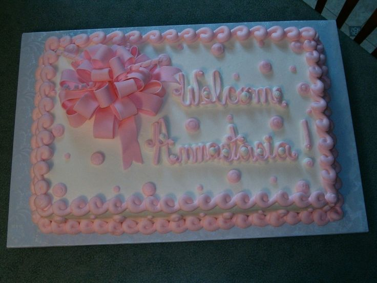 Baby Shower Cakes for Girls | baby girl shower this is a 12x18 sheet cake frosted with buttercream ...
