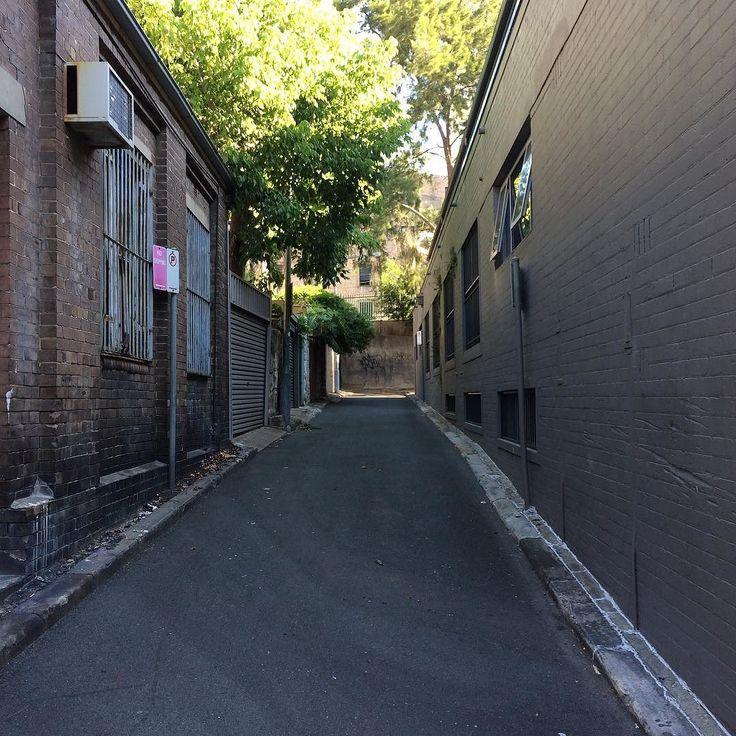 Light and shadow play on lanes in Woolloomooloo Sydney 2 - #lightandshadowplayonlanes #light #shadow #lane #Sydney #Woolloomooloo #trees #sign
