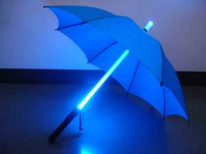 Light Up Umbrella: Stay dry and lit up with this LED Light Up Umbrella. This umbrella features an LED shaft that lights up with multiple colors. At 36 inches long this light up umbrella is perfect for rainy nights or to put together a Blade Runner style costume.