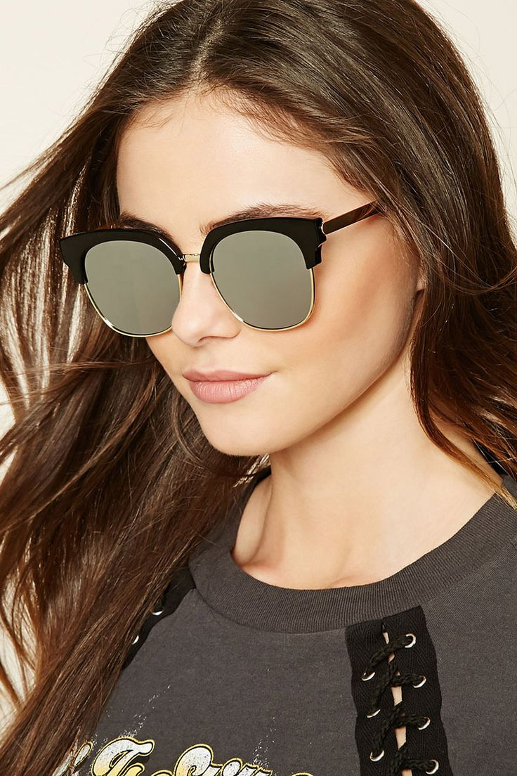 A pair of browline sunglasses featuring mirrored lenses and a high-polish frame.