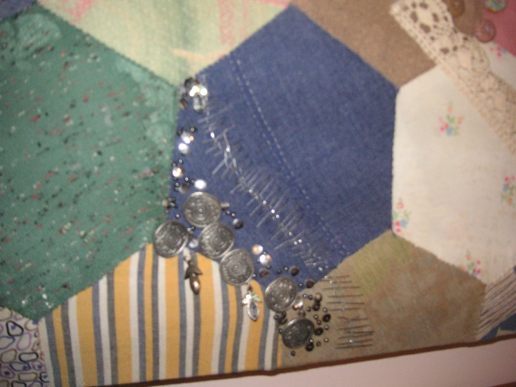 close up quilt pewter buttons from Michelle