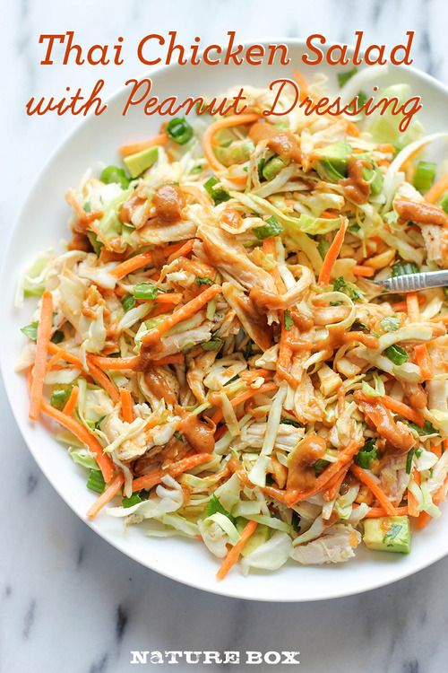 Thai chicken salad with peanut dressing. Made super easy and just as delicious as the restaurant.