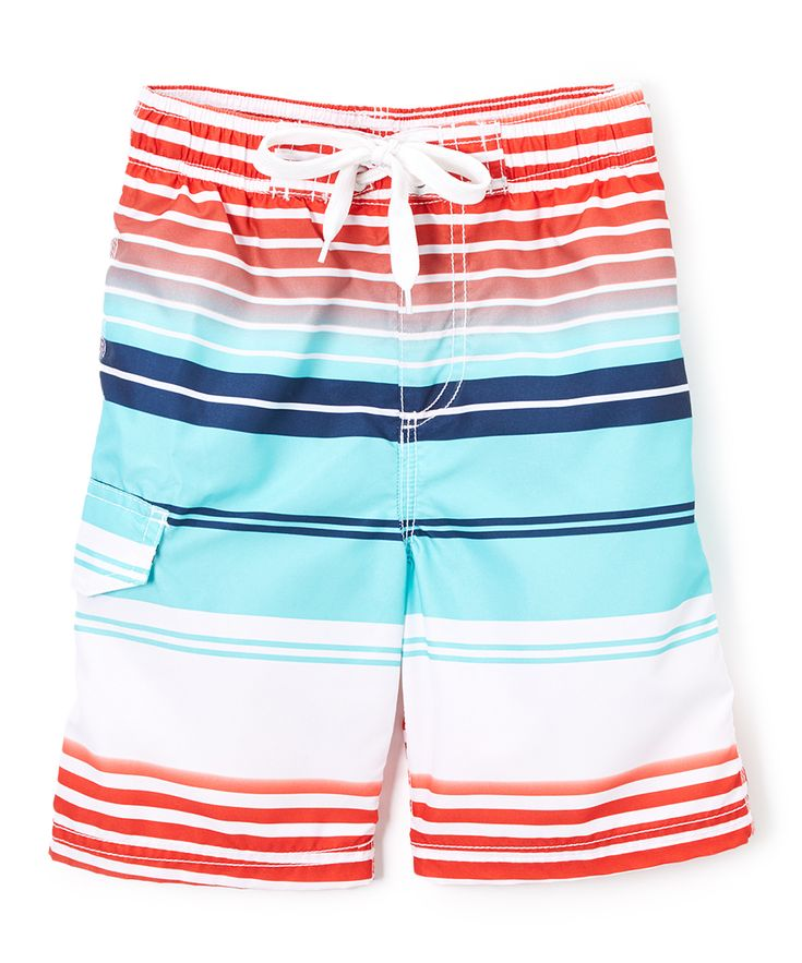 Aqua Tidal Stripe Swim Trunks - Toddler & Boys