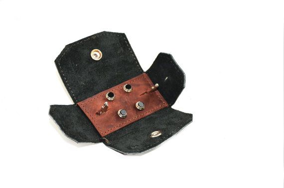 Leather Tuxedo Stud Case - Cuff link Travel Case - Vintage Style Shirt Stud Storage Set  The perfect way to keep your tuxedo studs and cuff links