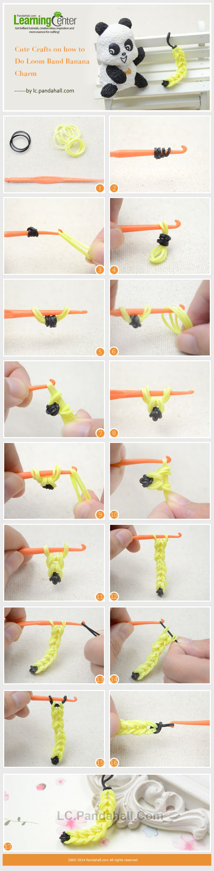 Cute Crafts on how to Do Loom Band Banana Charm - Machines et élastiques : http://www.creactivites.com/268-elastiques-loom