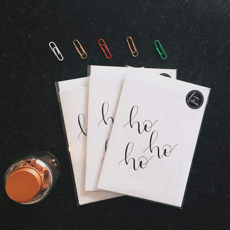 Ho Ho Ho brush lettered greeting card. 100% recycled A6 white 300gsm - in stock now!