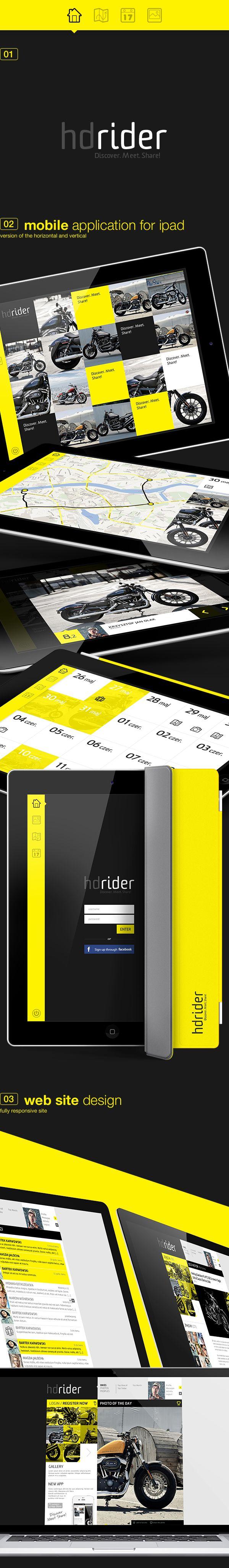 hdrider, app & web via Behance #ProntoDigital #WebDesign