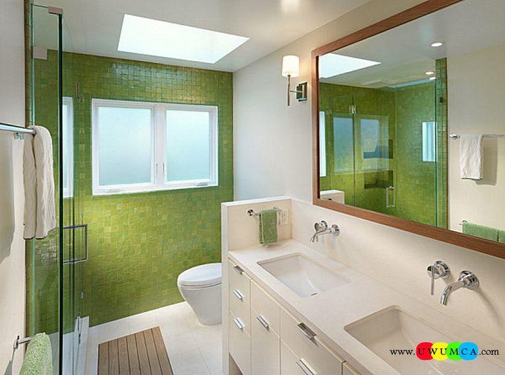 Bathroom:Decorating Modern Summer Bathroom Decor Style Tropical Bath Tubs Ideas Contemporary Bathrooms Interior Minimalist Design Decoration Plans Modern Bathroom With Green Tile And Towels Cool and Cozy Summer Bathroom Style : Modern Seasonal Decor Ideas