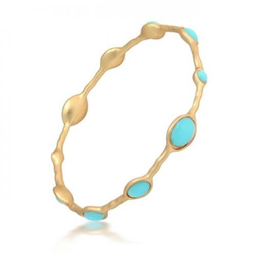 Matte Gold Plated Turquoise Color Enamel Bamboo Bangle Bracelet