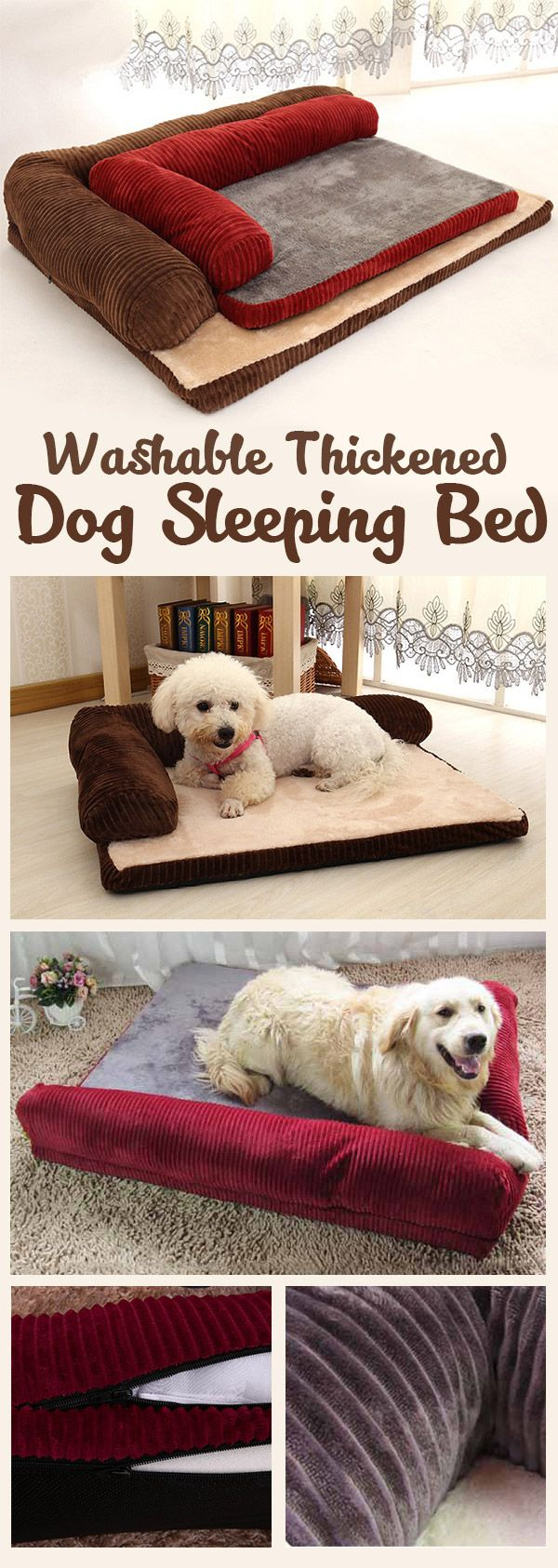 US$17.99-HAPET Washable Thickened Dog Sleeping Bed Pad Pet Detachable Resistance To Bite Sofa Mat#newchic#pet#bedding
