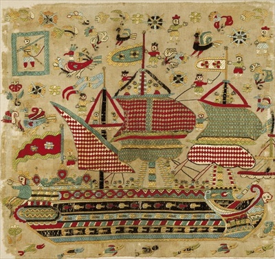 Bridal cushion cover, from Skyros, Sporades Islands (linen embroidered with silk threads) by Greek School, (17th century) - Bridgeman art images & historical footage for licensing
