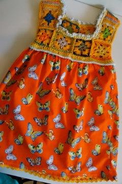 crochet and fabric child's dress