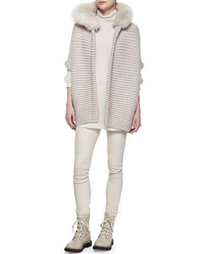 Brunello Cucinelli Fox Fur Trimmed Hooded Cashmere Poncho, Ribbed Layered Turtleneck Tunic & Side-Zip Stretch Leather Leggings Fall 2015