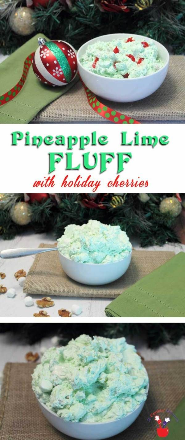 Pineapple Lime Fluff | 2 Cookin Mamas Our Pineapple Lime Fluff is a decadent side, a dessert or even a dip. It's super creamy, flavored with lime and mixed with cream cheese, marshmallows and pineapple. Dress it up with cherries and it's perfect for the holidays. #recipe #salad
