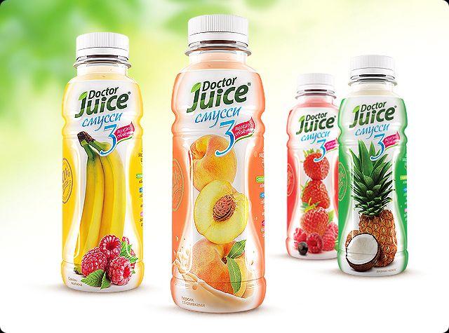 Дизайн упаковки смусси «Doctor Juice» с натуральными бифидоактивными волокнами / CUBA Creative Branding Studio