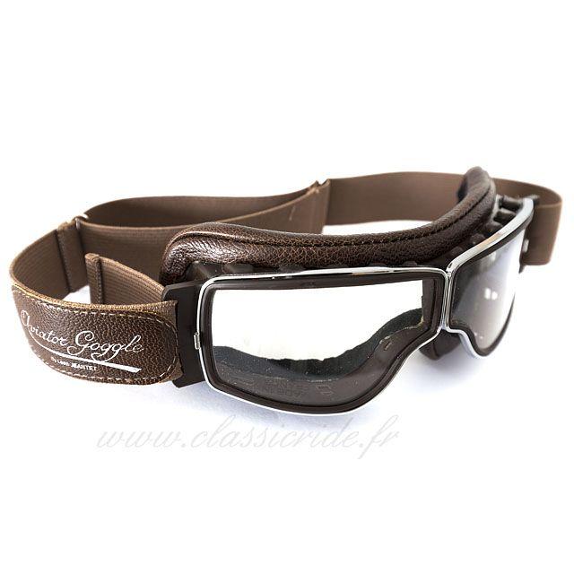 Découvrez les lunettes moto Aviator Goggle version marron vieilli, disponible sur Classic Ride, départ immédiat et livraison gratuite.
