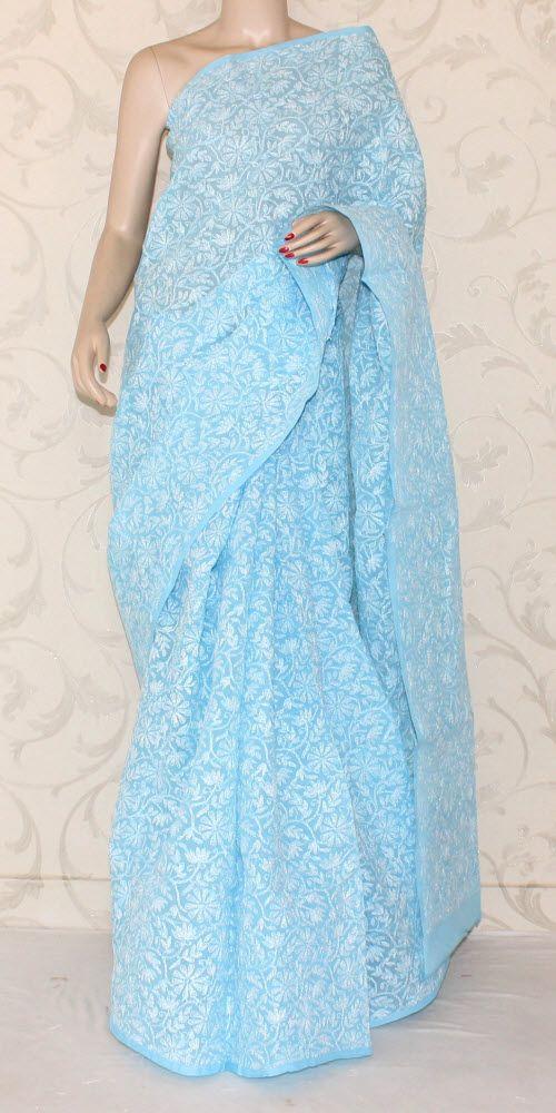 Lucknowi Chikan Saree (W/B-Cotton) 12893