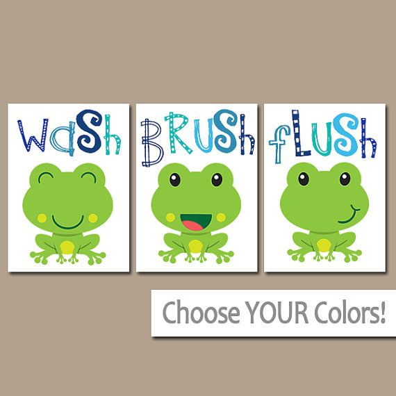 FROG Bathroom, Frog Wall Art, Canvas or Prints, BROTHER Bathroom Decor, Wash…