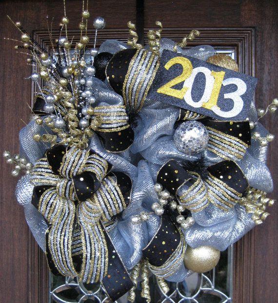 New Year's Deco Mesh Wreath