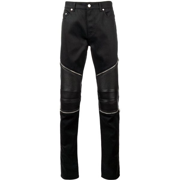 Saint Laurent skinny biker jeans ($745) ❤ liked on Polyvore featuring men's fashion, men's clothing, men's jeans, black, mens skinny biker jeans, mens button fly jeans, mens zipper jeans, mens super skinny jeans and mens low rise jeans