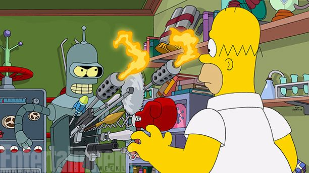Simpsons and Futurama are having a crossover episode! Awesome. I think this will end up going a lot better than the Family Guy crossover (more similar humor).