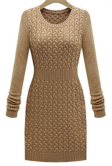 Khaki Long Sleeve Cable Knit Sweater Dress