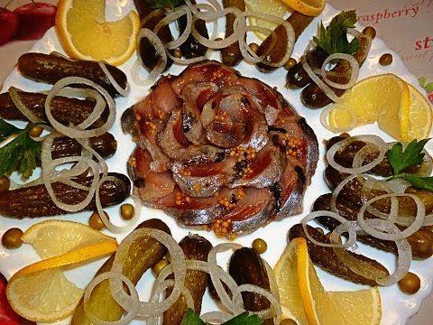 Украшения из сельди! Оформление тарелки! Flower of fish! Decoration of plates! - YouTube