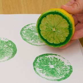 """Using Fruits and Vegetables as """"Stamps""""... could be cute to make prints to display in the kitchen"""