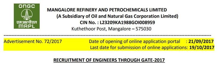 MRPL Vacancies for GATE 2017 candidates  http://www.tngovernmentjobs.in/2017/09/mrpl-gate-2017-chemical-engineer.html  #tngovernmentjobs #mrpl #ongc #GATE #GATE2017