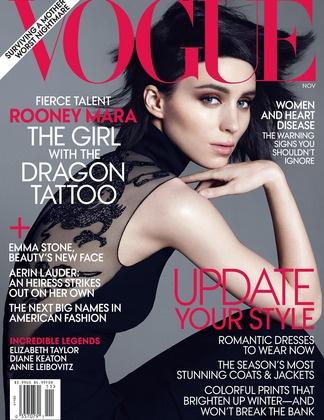 Rooney Mara: Magazine Covers, Fashion, Girl, November 2011, Rooneymara, Dragon Tattoos, Magazines, Rooney Mara, Vogue Covers