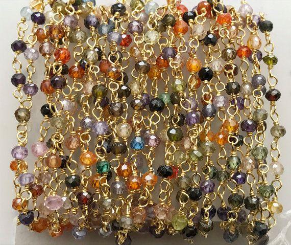 WHOLESALE 5 Feet Multi Gemstone Faceted Rondelle by gemsforjewels