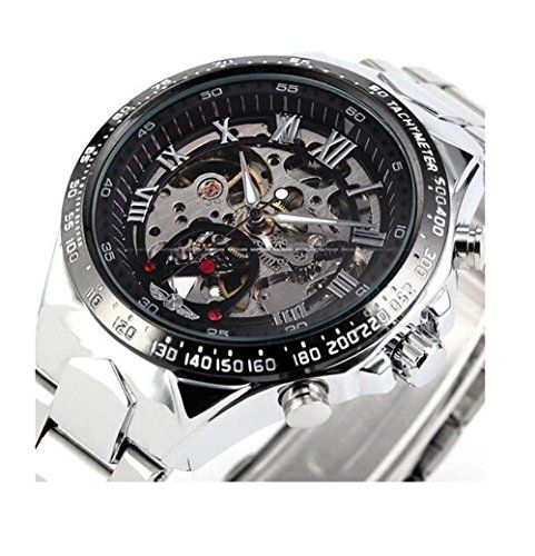 Bestcrew-us® Russian Skeleton Automatic Watches For Men Silver Stainless Steel Wrist Watch - Jewelry For Her