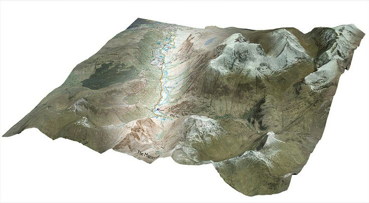 Ben Nevis in 2.5D A blend of two of our products, OS MasterMap Imagery Layer and 1:25 000 Scale Colour Raster, draped over a grid of OS Terrain 5 data. The two products that you see are actually 2-dimensional images. The effect of a third dimension has been achieved by draping this imagery over a digital elevation model (DEM) of the terrain (OS Terrain 5) in Esri ArcScene.