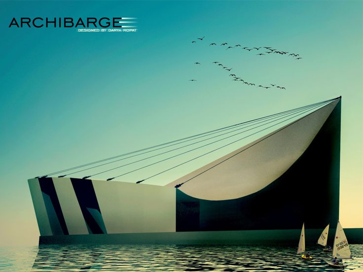 My Architectural Design of the Building for Museum of bridges named ARCHIBARGE. Inspired by Ships, bridges, yachts