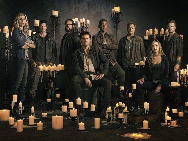 Revolution cast. Still of Giancarlo Esposito, Stephen Collins, Billy Burke, Elizabeth Mitchell, Zak Orth, JD Pardo, David Lyons, Tracy Spiridakos and Gene Po...