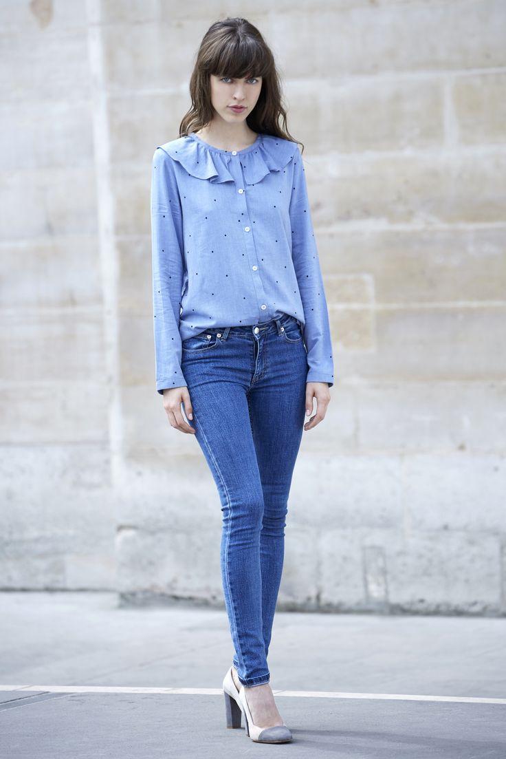 Chemise Hugo bleue à pois