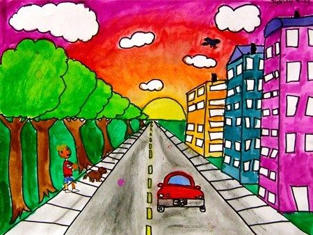 one point perspective city, 5th grade