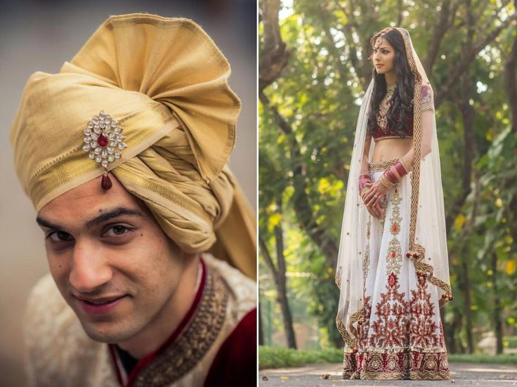 A red and white Swarovski-studded lehenga with gold thread embroidery and a red velvet blouse along with a net dupatta by Charmi Creations for Priya of WeddingSutra. #WeddingSutraP2W