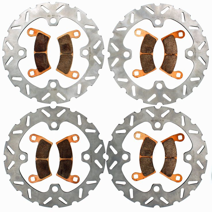 2014-2017 Polaris 1000 RZR XP 4 EPS Front & Rear RipTide Rotors and Brake Pads, Silver stainless steel